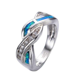 Blue Fire Opal CZ Cross Wedding Band Ring 10KT White Gold