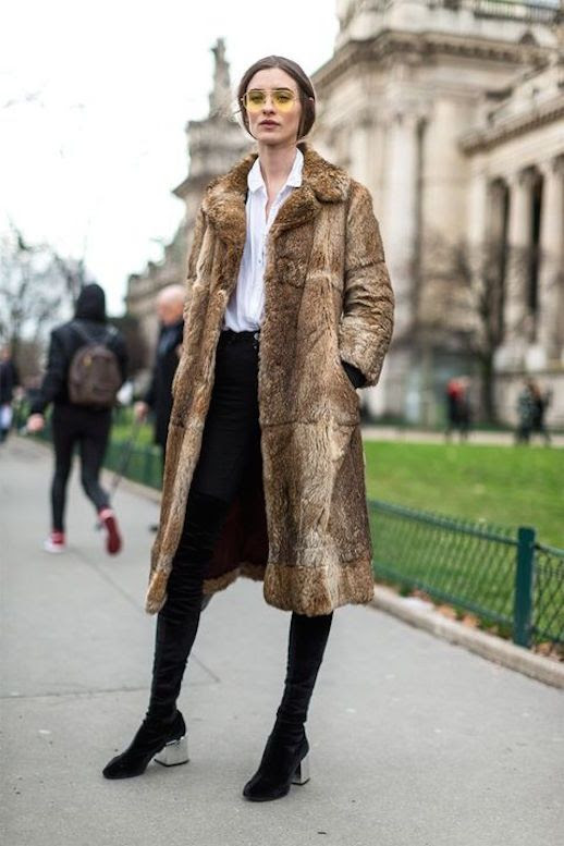 Le Fashion Blog Sunglasses Brown Long Fur Coat White Button Down Black Jeans Black Boots Via Harpers Bazaar Faux Fur Coat