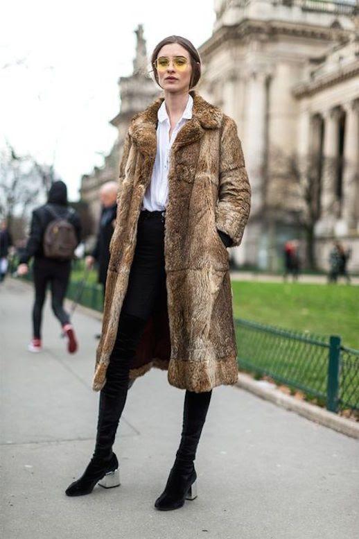 Le Fashion Blog Sunglasses Brown Long Fur Coat White Button Down Black Jeans Black Boots Via Harpers Bazaar Faux Fur Coat