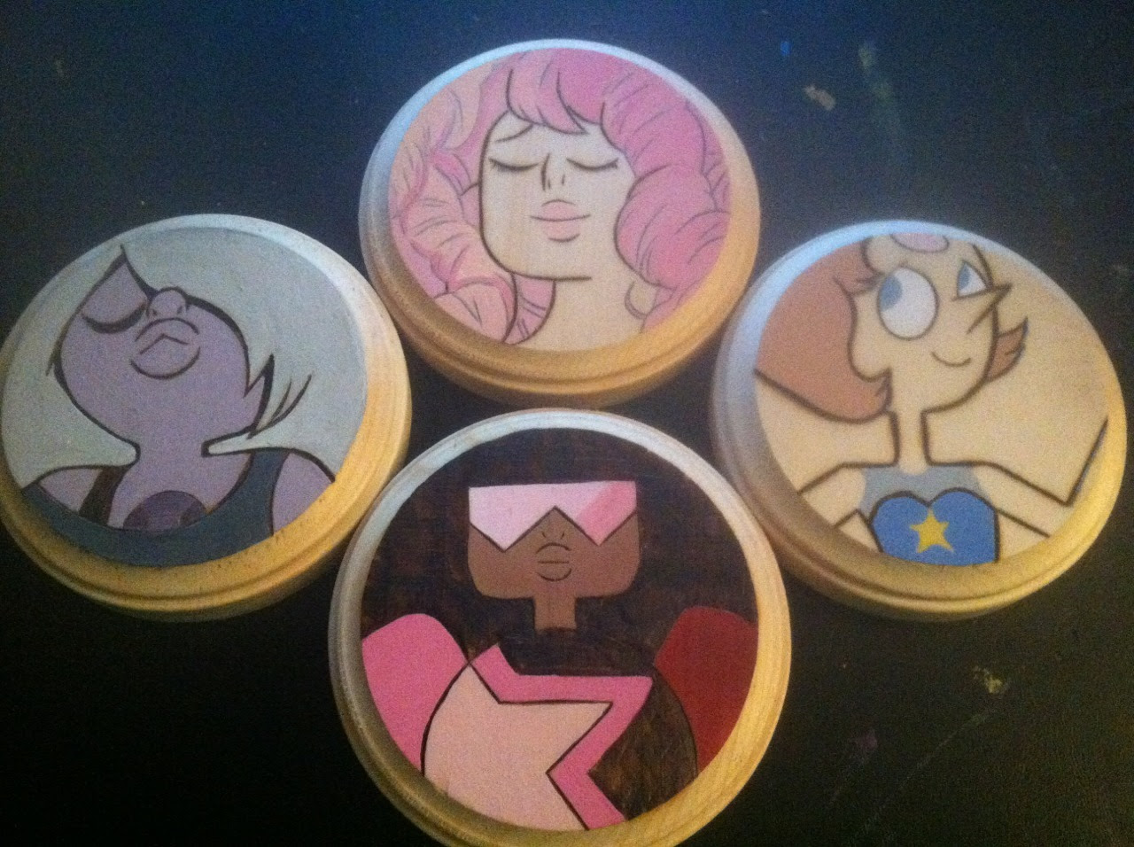 Women of Steven Universe woodburned coasters for Anime Milwaukee 2015!