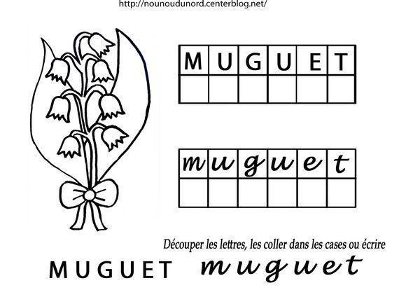 Exercice muguet découper et coller les lettres