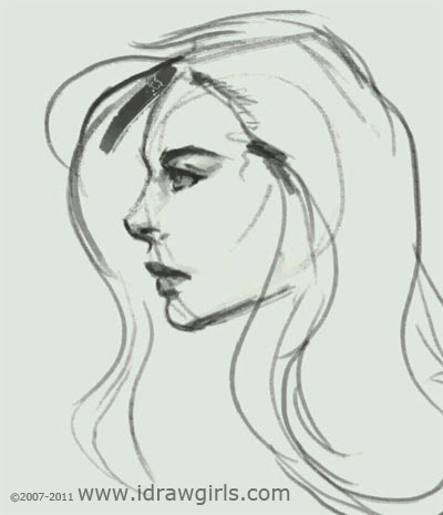 how to draw face, girl, hot, profile