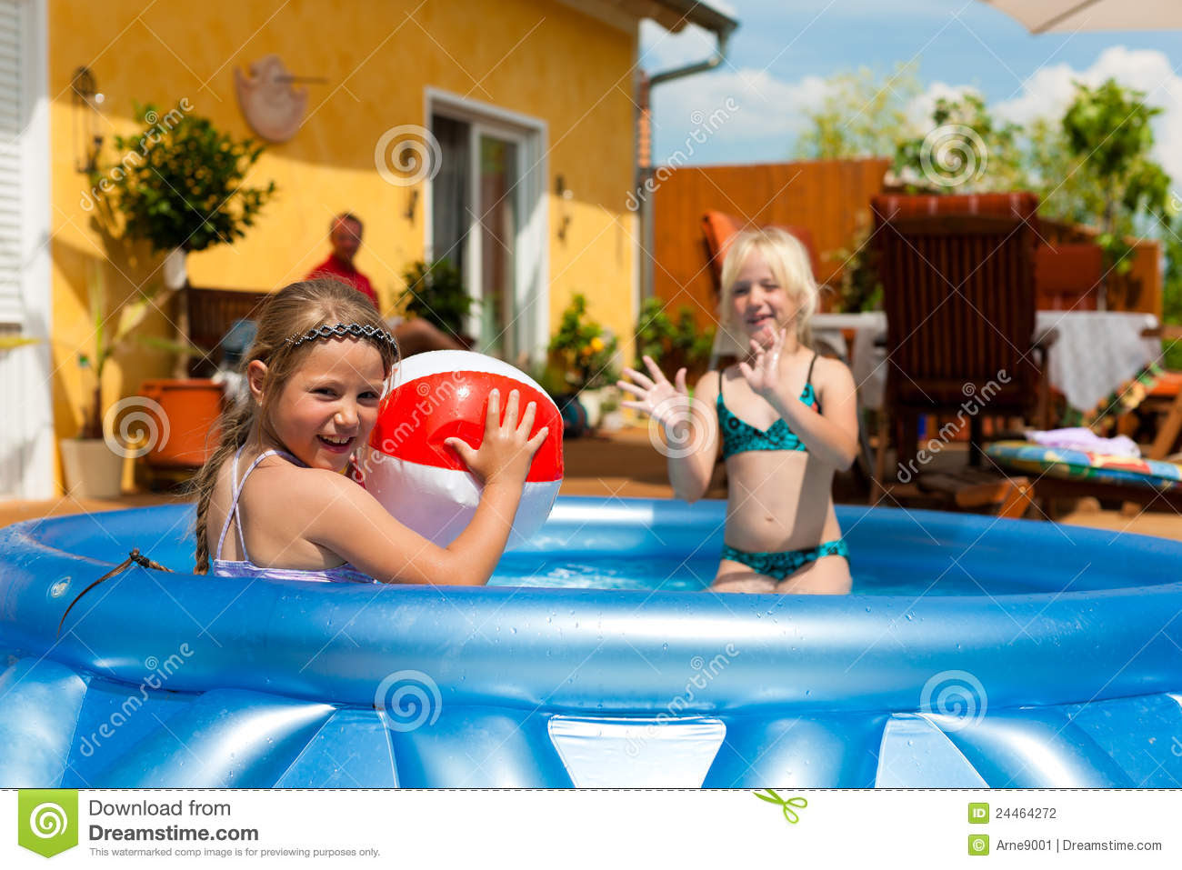 Children Playing With Ball In Water Pool Stock Photography - Image ...