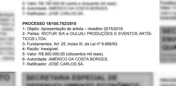 Segundo publicação no Diário Oficial do Município do Rio, Zeca Pagodinho receberá cachê de R$ 800 mil para se apresentar no Réveillon de Copacabana