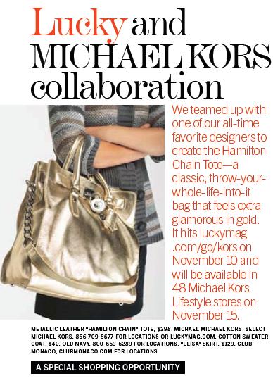 Lucky Magazine Michael Kors Hamilton Chain Tote