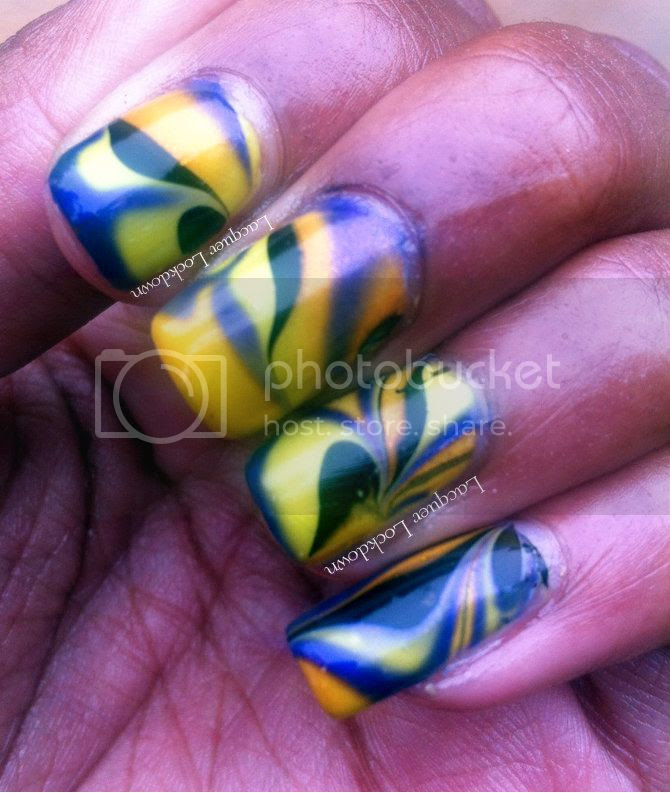 Lacquer Lockdown - water marble, halloween nail art, halloween manicure, Milani Totally 80!, neon nails,  neon nail art, Milani Neon, Sinful Colors Let's Talk, Sinful Colors Cloud 9, Orly Liquid Vinyl, Essie Marshmallow,
