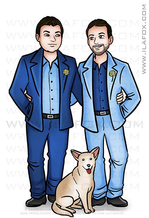 caricatura casal, caricatura noivos, caricatura casal homoafetivo, caricatura casal gay, caricatura bonita, by ila fox