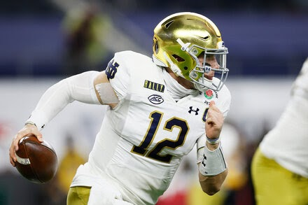 Notre Dame's starting quarterback is hurt.