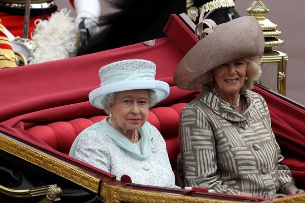 Pole position: Camilla and the Queen yesterday