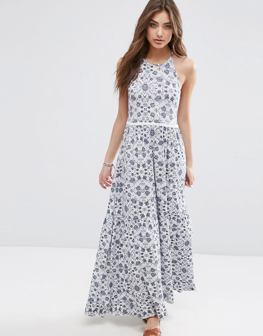 Image 1 of ASOS Tile Print Tiered Maxi with Lace Trim