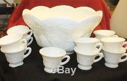 Vintage Milk Glass Scalloped Punch Bowl Set Grape Leaf Design
