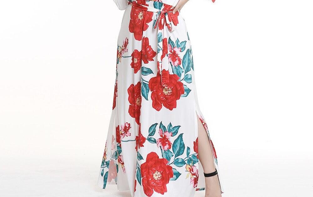 6969895d471c34 Kopen Goedkoop Vrouwen Grote Maten 3XL Sexy Lange Jurk Bloemenprint Side  Split Lace Up Herfst V hals Nieuwe Mode Vakantie Plus Size Maxi Jurken  Prijs ~ ...