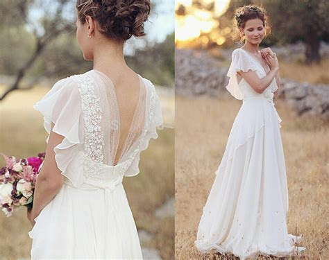 short sleeve simple beach wedding dresses   long