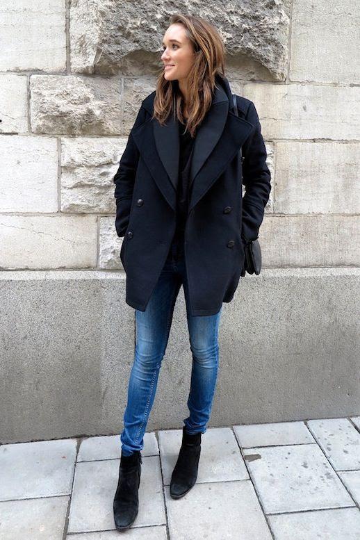 Le Fashion Blog Winter Layers Style Black Peacoat Blazer Light Denim Black Ankle Boots Via Caroline Sandstrom