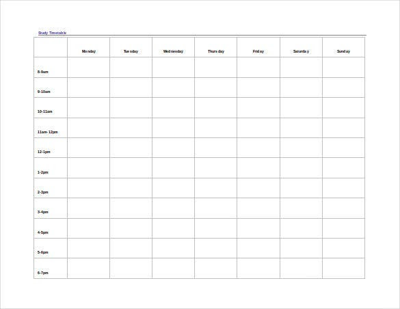 Timetable Template – 9+ Free Word, PDF, Documents Download! | Free ...