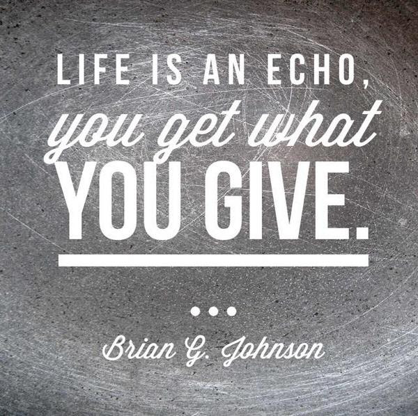 Life Is An Echo You Get What You Give Brian G Johnson Quotes