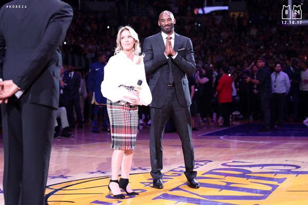 Lakers president Jeanie Buss gives a speech during Kobe Bryant's jersey retirement ceremony at STAPLES Center...on December 18, 2017.