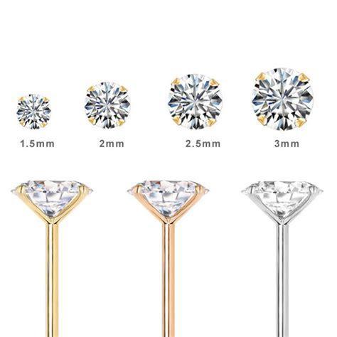 14K Gold L Shaped DIAMOND Nose Ring 1.5mm 2mm 2.5mm 3mm