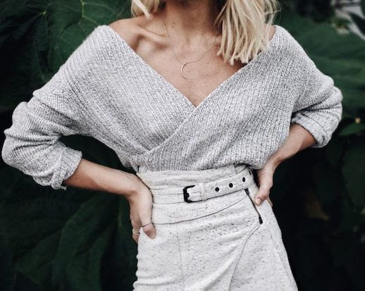 Le Fashion Blog Grey Slouching V Neck Sweater Gray Skirt Via Happily Grey