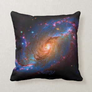 Monogram Barred Spiral Galaxy NGC 1672 Pillow