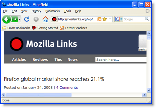 Firefox 3 Windows XP theme main window