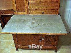 Antique Oak Napanee Kitchen Cabinet Hoosier Cupboard Fully ...
