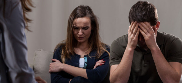 Depressed couple on psychotherapy