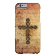 Amazing Grace Cross on Vintage Sheet Music Barely There iPhone 6 Case