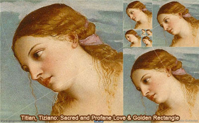 Titian or Tiziano: Sacred and Profane Love and Golden Rectangle, Droste Effect, HTML5 Animation