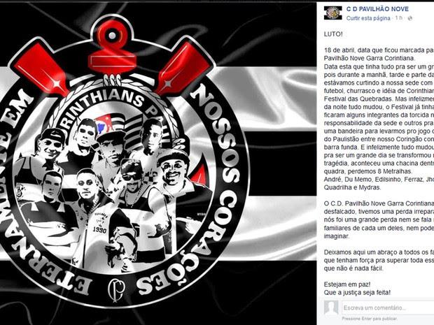 Página da Pavilhão Nove no Facebook homenageia oito corintianos mortos há um ano na sede da torcida organizada, fechada pela prefeitura na semana passada por falta de Auto de Vistoria do Corpo de Bombeiros (AVCB) (Foto: Reprodução / Facebook)