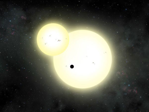 An artist's concept of the exoplanet Kepler-1647b orbiting its two suns.