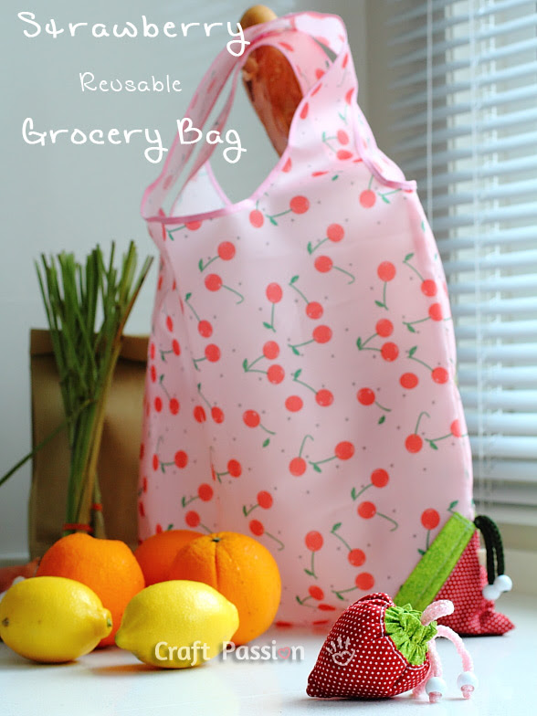 Sew A Strawberry Reusable Grocery Bag