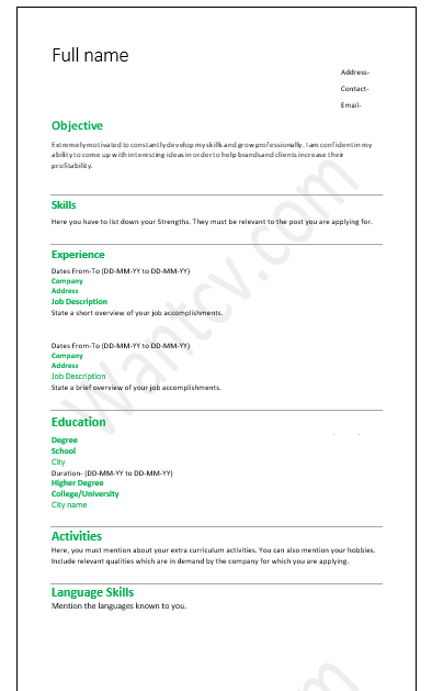 Job Application Resume Format For Freshers Bcom Best Resume Examples
