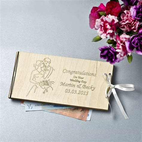 personalised wooden money wedding gift envelopes by