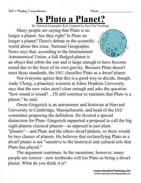 Reading Prehension Worksheet Is Pluto A Planet