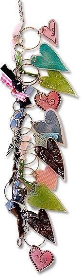 Shrinky dinks heart charms on bracelet