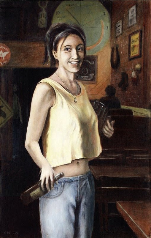 Portrait of Shannon, Young Woman Working in a Bar; a Fine Art Traditional-Modern Painting - original fine art work by G. Linsenmayer