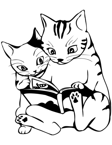 two cats reading a book coloring page  free printable