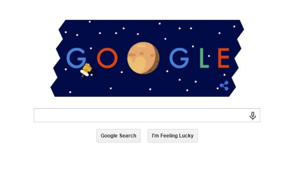 A screenshot of New Horizons' 'Google doodle.'