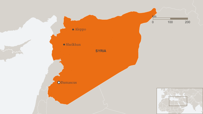 Karte map Syria, Shaikun toxic gas ENG