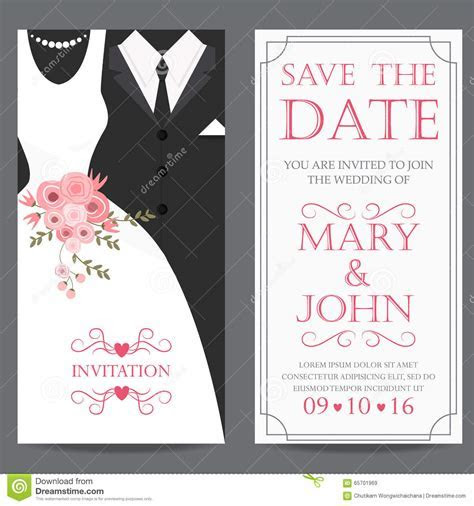 Bride And Groom,wedding Invitation Card Stock Vector