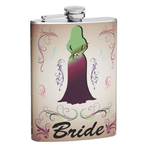 Bride Personalized Wedding Flask with Bride Theme   Flasks.com