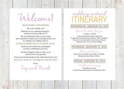 Welcome Letter, Wedding Welcome Letter, Wedding Itinerary