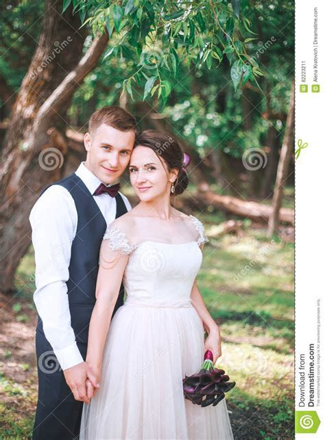 Groom And Bride Together. Couple Hugging. Wedding Day
