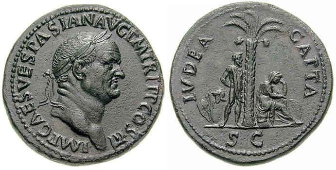 Sestertius - Vespasiano Iudaea (Crédit : Wikipédia)