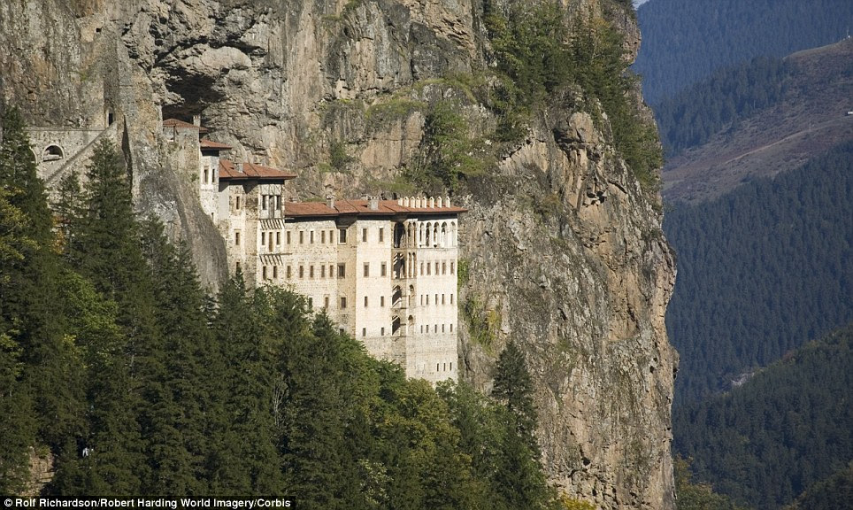 Vertigo-inducing: The Sumela monastery in Turkey was created 386AD apparently after two priests discovered a miraculous icon of the Virgin Mary in a cave on the mountain
