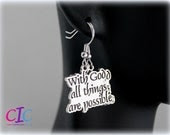 With God All Thing Are Possible Religious Earrings