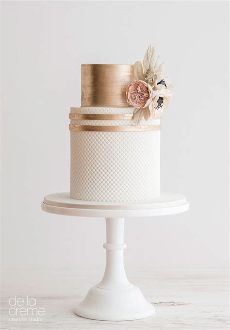 Blush & Rose Gold Wedding Cake Trio   Mon Cheri Bridals