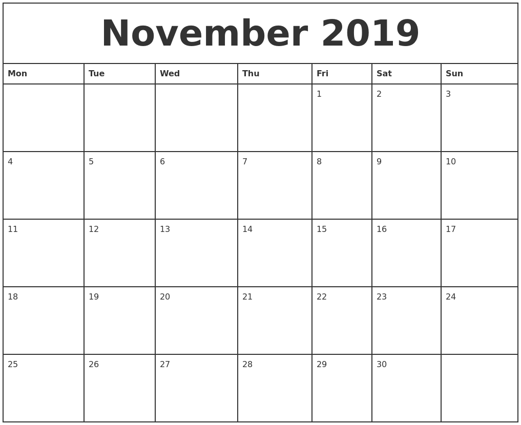 november 2019 printable monthly calendar monday start