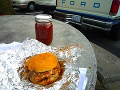 coarse chopped pork sandwich, BBQ Center